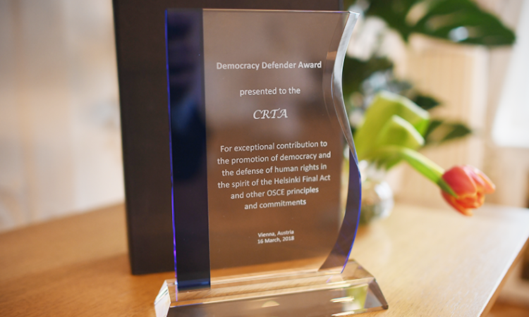 The 2018 Democracy Defender Award. (USOSCE/Colin Peters)