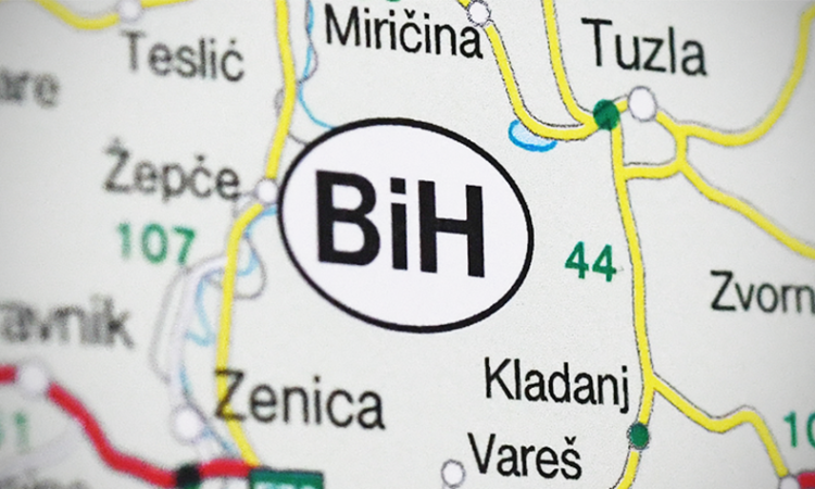 "Close up on a map of the abbreviation for Bosnia and Herzegovina, ""BiH"". (USOSCE/Colin Peters)"