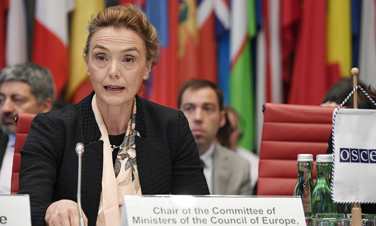 Croatia's Deputy Prime Minister and Minister of Foreign Affairs Marija Pejčinović Burić addressing the OSCE Permanent Council in her capacity as Chair of the Committee of Foreign Ministers of the Council of Europe, Vienna, Austria, June 14, 2018. (USOSCE/Colin Peters)