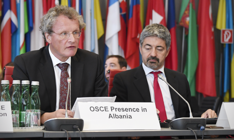 Ambassador Bernd Borchardt, head of the OSCE Presence in Albania, addressing the OSCE Permanent Council on Thursday, September 27, 2018, Vienna, Austria. (USOSCE/Colin Peters)