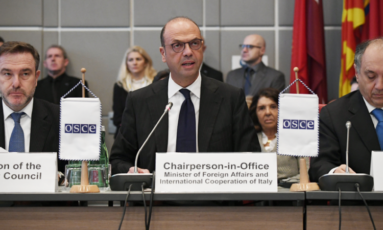 Italy's Foreign Minister Angelino Alfano addresses the OSCE Permanent Council in his new role as 2018 OSCE Chairperson-in-Office, Vienna, Austria, January 11, 2018. (USOSCE/Colin Peters)