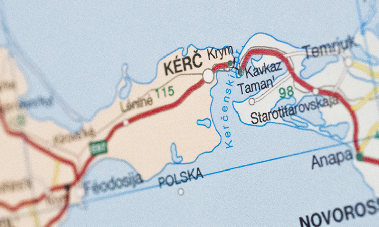 Map showing the location of the Kirch Strait. (USOSCE/Colin Peters)