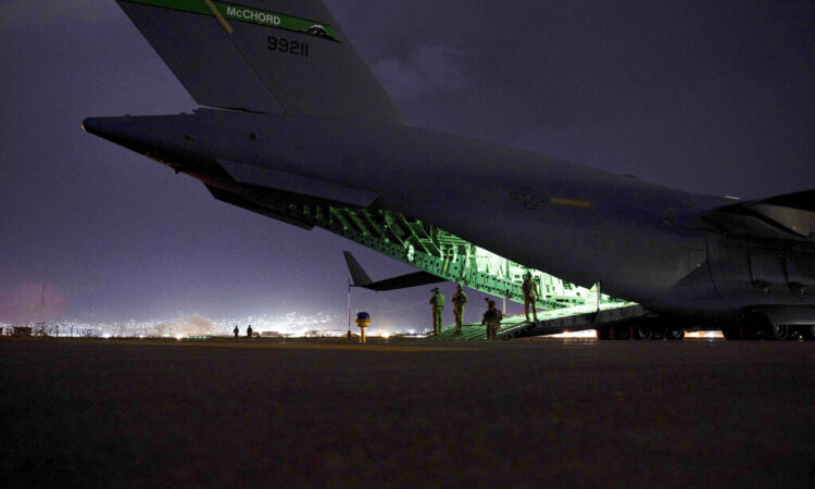 Final noncombatant evacuation operation missions at Hamid Karzai International Airport in Kabul Afghanistan. (Senior Airman Taylor Crul/U.S. Air Force via AP)