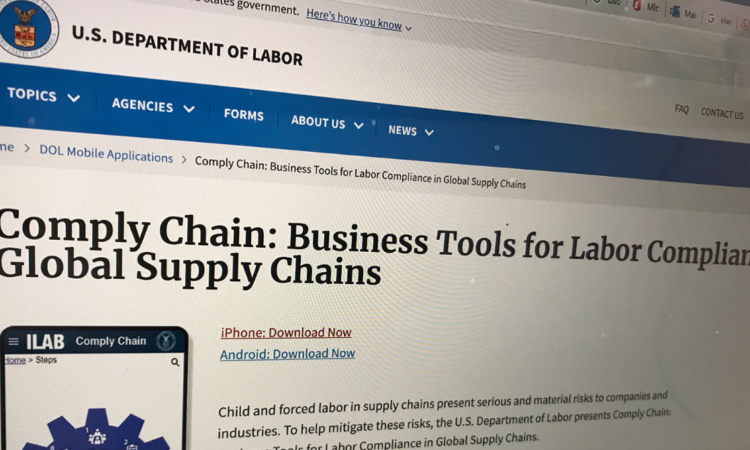 """U.S. Department of Labor produced App """"Comply Chain: Business Tools for Labor Compliance in Global Supply Chains"""""""