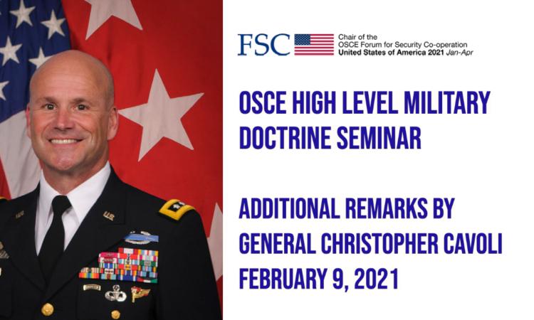 High Level Military Doctrine SeminarAdditional Remarks by General Christopher Cavoli