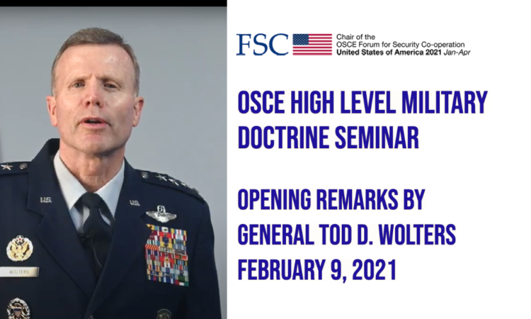 OSCE High Level Military Doctrine Seminar Opening Remarks by General Tod D. Wolters
