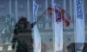 Флаг Грузии и флаги с логотипом ОБСЕ