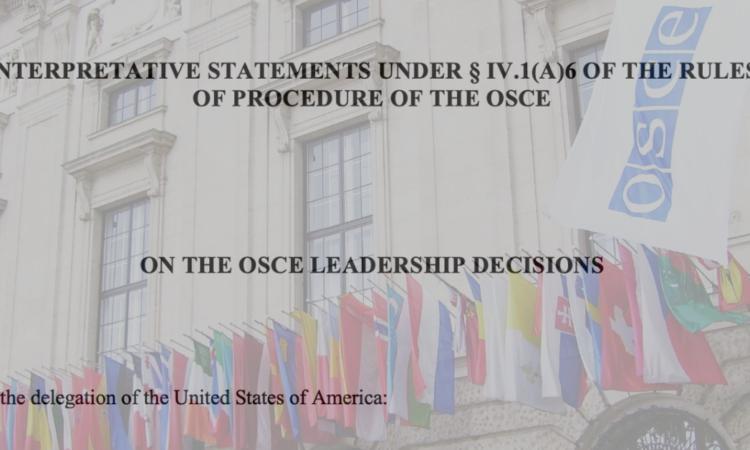 Interpretative Statement on the OSCE Leadership Decisions