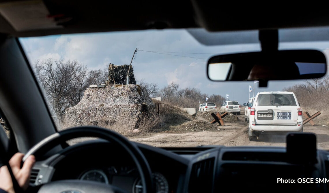 Monitors of the OSCE Special Monitoring Mission (SMM) in eastern Ukraine