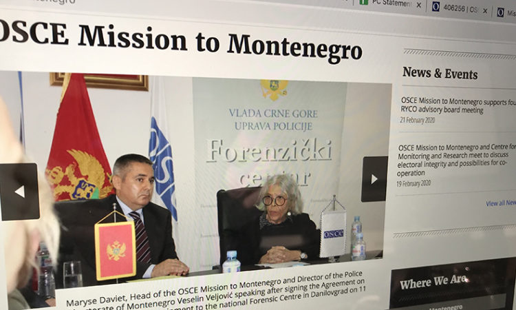 Website of OSCE Mission to Montenegro