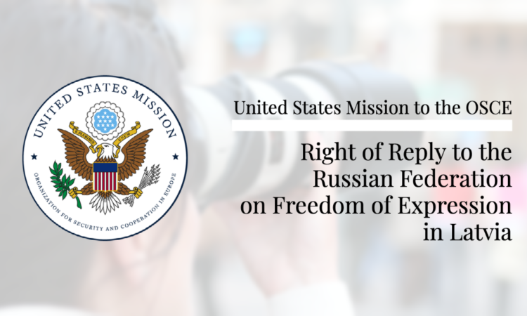 Right of Reply to the Russian Federation on Freedom of Expression in Latvia