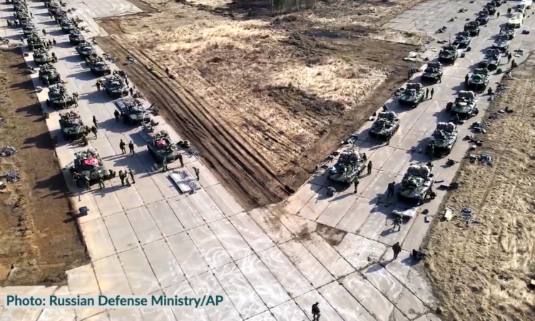 This handout photo released on Thursday, April 22, 2021 by the Russian Defense Ministry Press Service shows Russian military vehicles move during drills in Crimea. (Russian Defense Ministry Press Service via AP)