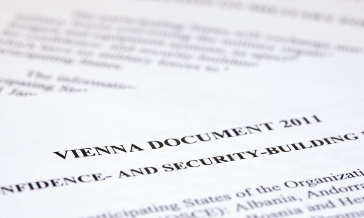 The Vienna Document is a fundamental agreement that allows for information sharing and confidence building measures across all 57 member states of the OSCE (OSCE/Curtis Budden)
