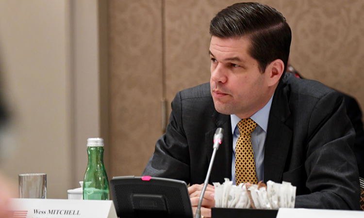 The State Department's Assistant Secretary for European and Eurasian Affairs, Dr. A. Wess Mitchell, speaks at an event on the impact of Russia's occupation of Crimea on Crimean Tatars, Vienna, Austria, December 7, 2017. (USOSCE/Michael Gower)