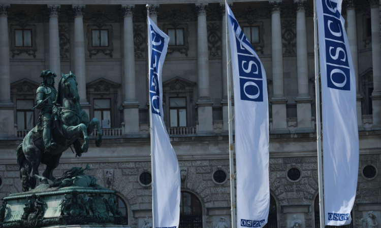 OSCE flags outside the Hofburg Congress Center in Vienna, Austria