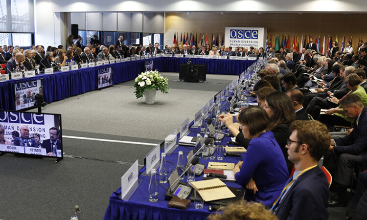 Plenary hall of the 2019 Human Dimension Implementation Meeting (HDIM) at the Warsaw National Stadium, September 16, 2019 (photo: OSCE/Piotr Dziubak)