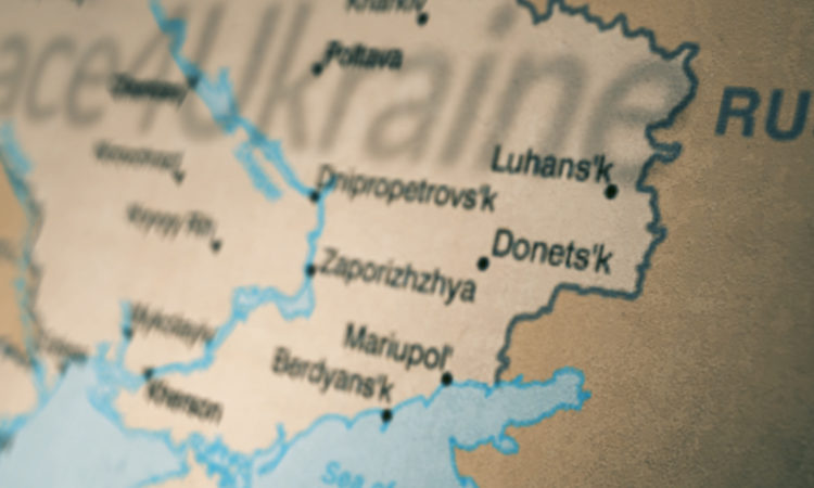 Ukraine Map of Donetsk and Luhansk