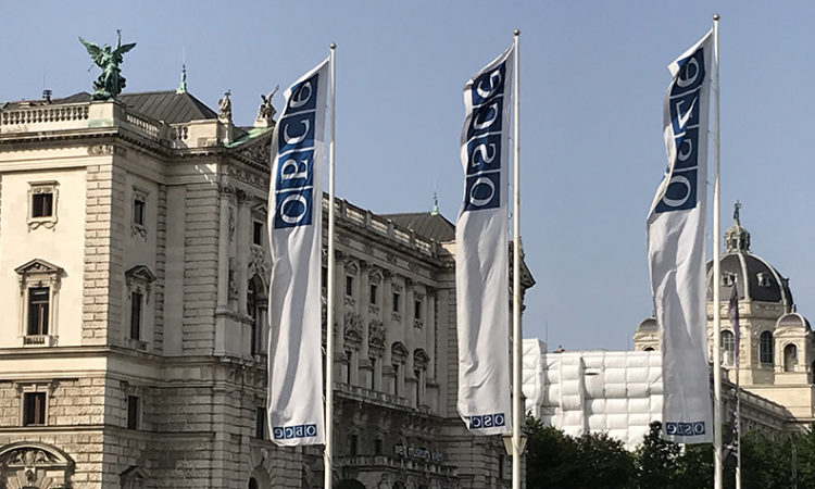 OSCE flags in front of the Hofburg (photo: USOSCE)