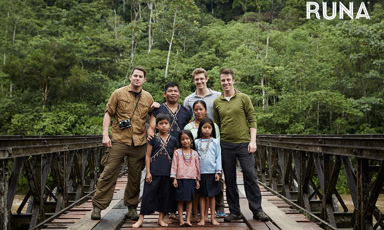 Channing Tatum with Runa LLC personnel in the Ecuadorian jungle