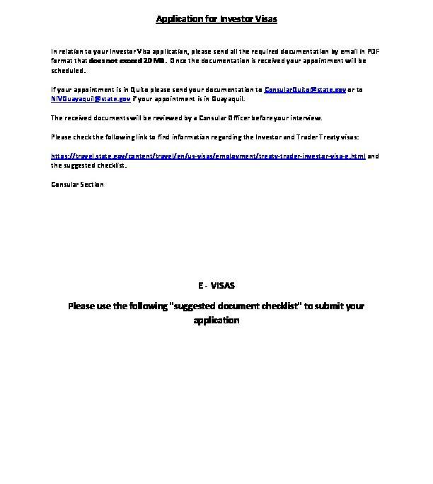 Application For Investor Visas E Visas U S Embassy Consulate In Ecuador