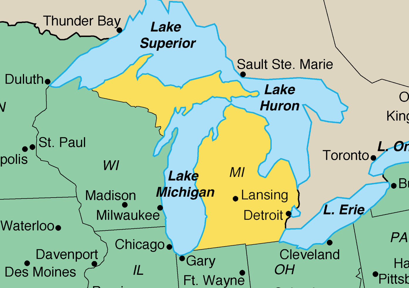 Map of Michigan | U.S. Emby in Austria Michigan Travel Map on