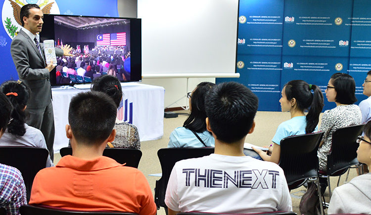 Public Affairs Officer Alex Titolo introduces the YSEALI Town Hall broadcast from Kuala Lumpur to the U.S Exchange Alumni