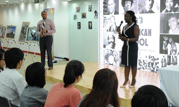 Consulate Officers Malikat Rufai and Cameron Thomas-Shah lead a discussion on African American contribution to American history.
