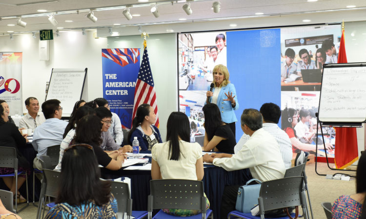 Picture of Dr. Jill Biden sharing her own experiences as an English teacher