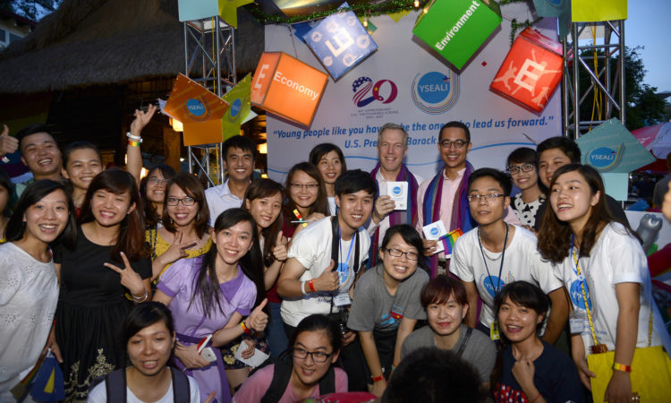 Ambassador Osius and his spouse with YSEALI youth at the ASEAN Pride Music Festival.