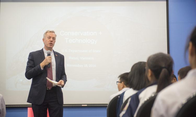 U.S. Ambassador to Vietnam Ted Osius announces the new Saving Species program at the American Center.