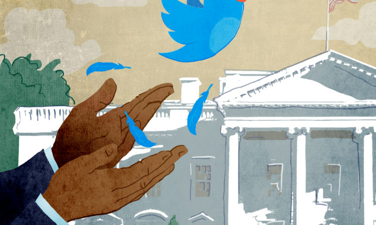 Illustration of hands releasing Twitter bird; White House in background (State Dept./Doug Thompson)