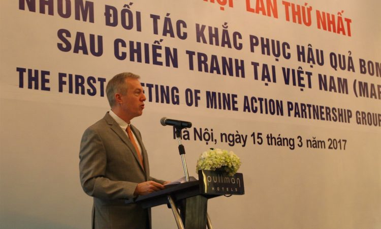 Ambassador Ted Osius giving remarks at the first Annual Donor Forum of the Mine Action Partnership Group on March 15.