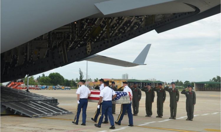 U.S. military honor guards transfer remains believed to be those of U.S. personnel missing from the Vietnam War to a United States Air Force aircraft for repatriation to the United States. Jun 19, 2017