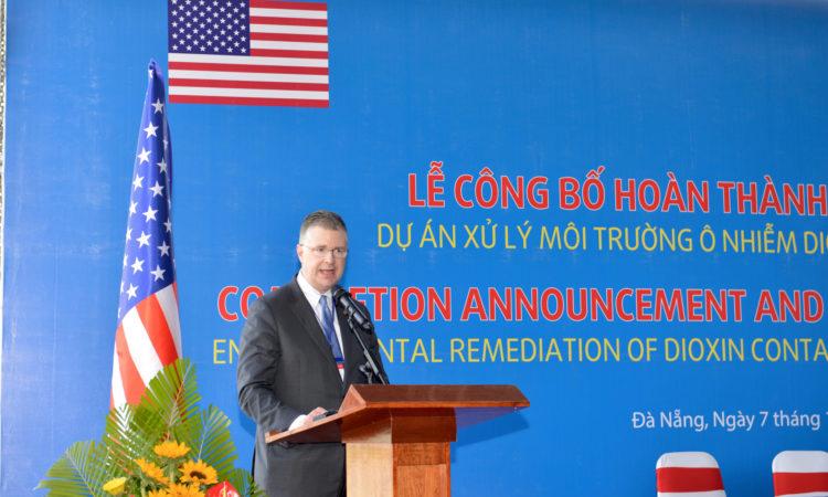 U.S. Ambassador to Vietnam Daniel J. Kritenbrink speaks at the event.