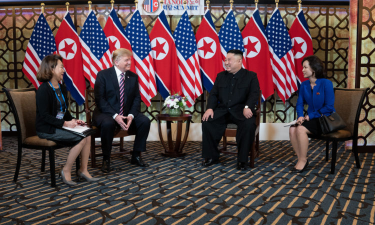 President Donald J. Trump and Kim Jong Un, Chairman of the State Affairs Commission of the Democratic People's Republic of Korea talk Wednesday, Feb. 27, 2019, at the Sofitel Legend Metropole hotel in Hanoi, for their second summit meeting. (Official White House Photo by Shealah Craighead)