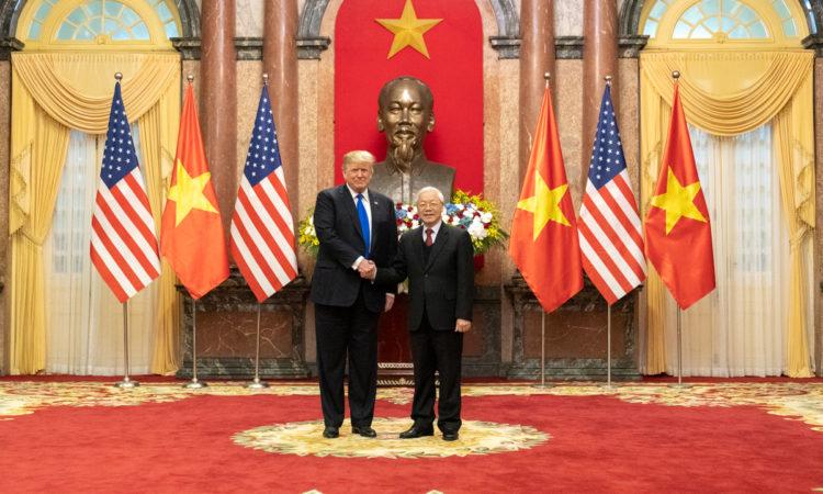 Tổng thống Donald J. Trump và Chủ tịch nước Nguyễn Phú Trọng tại Phủ Chủ tịch ở Hà Nội, ngày 27/2/2019. (Ảnh của Nhà Trắng do Shealah Craighead chụp)