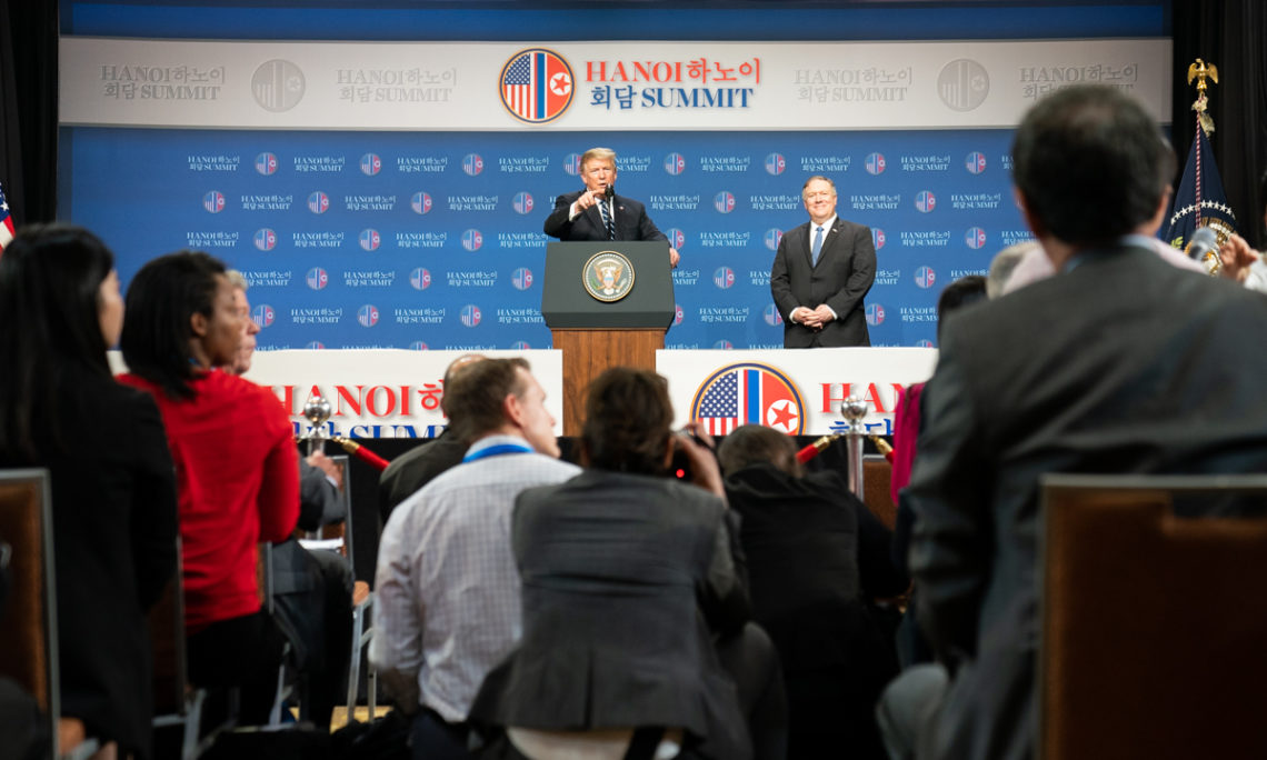 President Donald J. Trump, joined by Secretary of State Mike Pompeo, holds a news conference after his summit with North Korean leader Kim Jong Un at the JW Marriott Hotel Thursday, Feb. 28, 2019, in Hanoi. (Official White House Photo by Shealah Craighead)