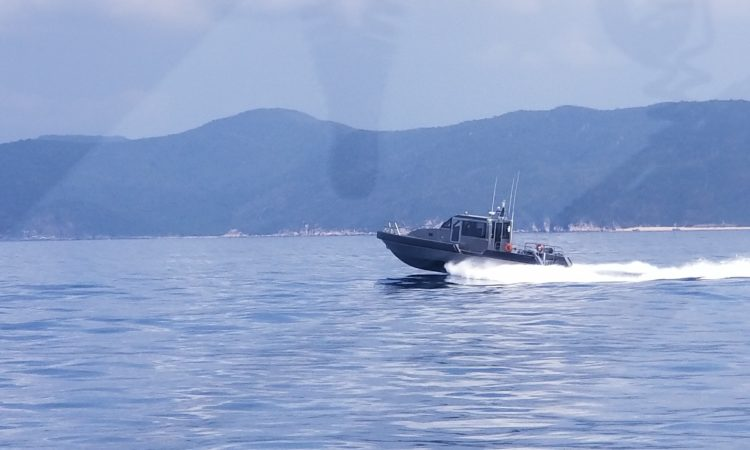 Vietnam Coast Guard Region 3 Metal Shark boat underway, it is capable of reaching 35 knots