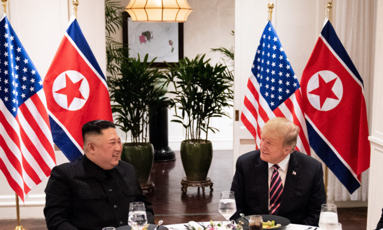 President Donald J. Trump and Kim Jong Un, Chairman of the State Affairs Commission of the Democratic People's Republic of Korea meet for a social dinner Wednesday, Feb. 27, 2019, at the Sofitel Legend Metropole hotel in Hanoi, for their second summit meeting. (Official White House Photo by Shealah Craighead)