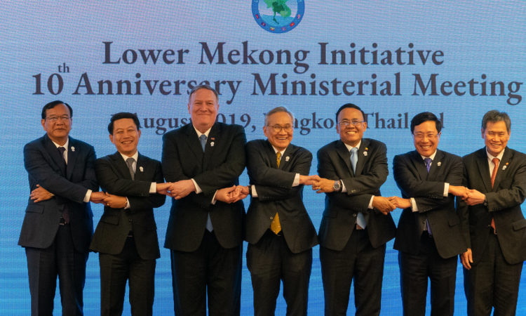 U.S. Secretary of State Michael R. Pompeo participates in a Lower Mekong Initiative Ministerial family photo in Bangkok, Thailand, on August 1, 2019. [State Department photo by Ron Przysucha/ Public Domain]