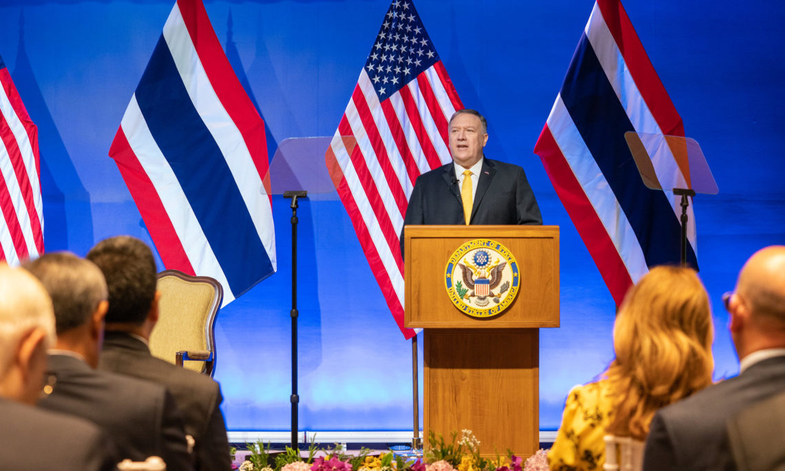 """U.S. Secretary of State Michael R. Pompeo delivers a speech on """"The U.S. in Asia: Economic Engagement for Good"""" in Bangkok, Thailand on August 2, 2019. [State Department photo by Ron Przysucha/ Public Domain]"""