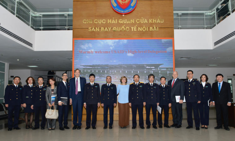 The United States Agency for International Development Deputy Administrator Bonnie Glick Visits Noi Bai Airport Cargo Terminal with General Department of Vietnam Customs Director-General Nguyen Van Can