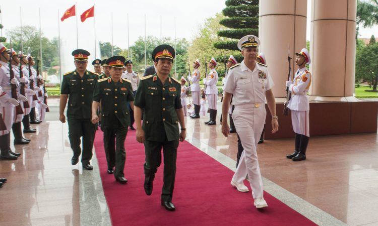 Vietnam People's Army, Chief of the General Staff and Deputy Minister of National Defense welcomes Commander, U.S. Indo-Pacific Command Adm. Phil Davidson to the Ministry of National Defense in Hanoi, Vietnam. Davidson is in Vietnam to meet with regional leaders and counterparts for the first time as USINDOPACOM commander. (U.S. Navy photo by Chief Mass Communication Specialist Joshua Bryce Bruns)