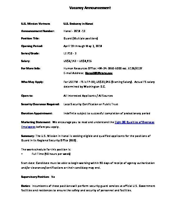 Vacancy Announcements: Guard (PDF-234KB) | U S  Embassy