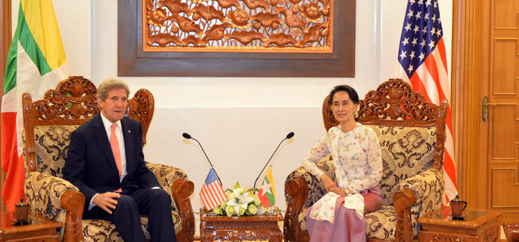 Secretary of State John Kerry with Burmese Foreign Minister Daw Aung San Suu Kyi