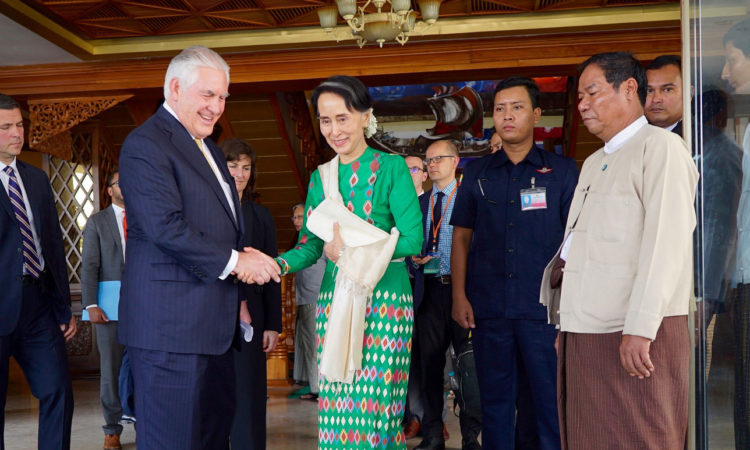 Secretary Tillerson with State Counsellor Aung San Suu Kyi in MoFA, Nay Pyi Taw