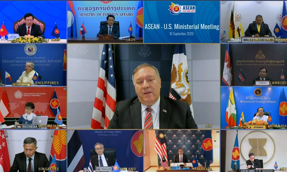 U.S. Secretary of State Mike Pompeo, center, speaks during an online meeting with ASEAN foreign ministers hosted by Vietnam on Sept. 10. © VTV/AP