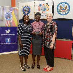 Rachael (middle) is a counselor at Mulago Immune Suppressive Syndrome Clinic and a champion in creating friendly clinic environments for HIV-positive adolescents and young adults.