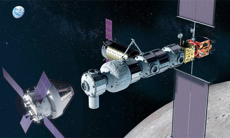 Artist's concept image of the Gateway spaceship, which will be the first human outpost in orbit around the Moon. (NASA)