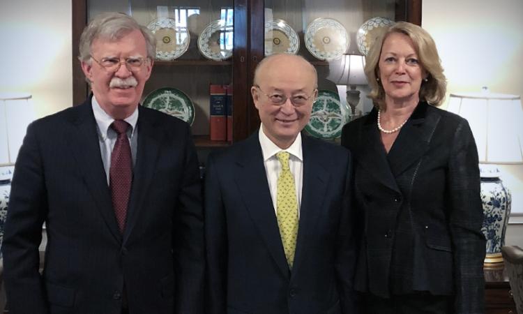 Left to right: United States National Security Advisor John Bolton, IAEA Director General Yukiya Amano, United States Ambassador Jackie Wolcott.